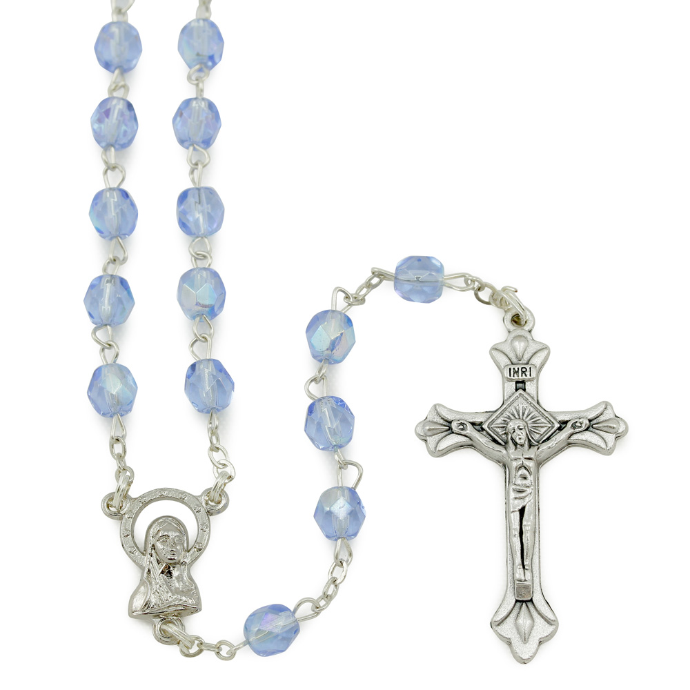 Catholic Iridescent Blue Glass Hearts Our Lady of Lourdes Rosary Beads in Box