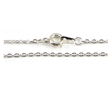 White Plated Rolo Chain Necklace -17 Inches