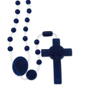 Navy Blue Plastic Beads Rosary