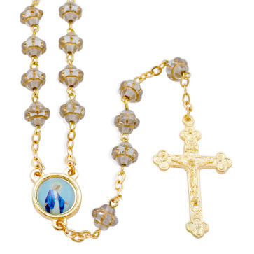 Clear Medieval Glass Beads Rosary