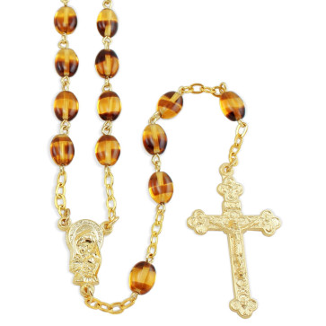 Amber Pressed Stone Beads Rosary