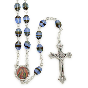 Guadalupe Pressed Stone Beads Rosary
