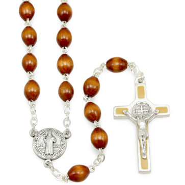 St. Benedict Wooden Beads Rosary