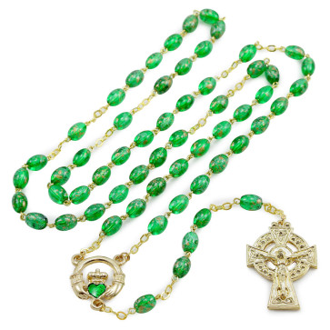 Catholic Rosary with Green Beads