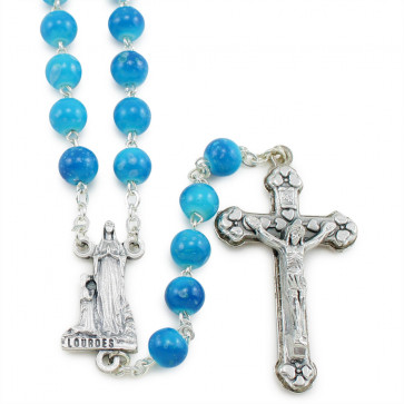 Lourdes Blues Glass Beads Rosary