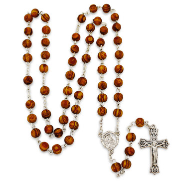 STreet madonna carved beads rosary