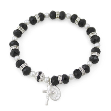 Rosary Bracelet with Black Crystal Beads