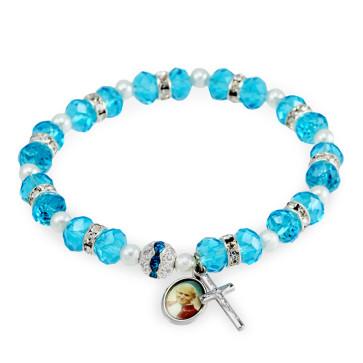 St John Paul II Rosary Bracelet Aqua Crystal Beads