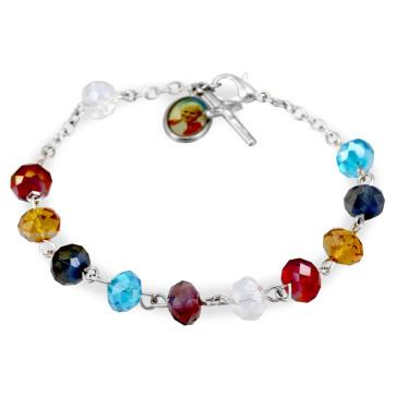 Rosary Bracelet Multicolor Crystal Beads St John Paul