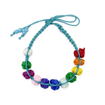 Knotted Multicolored Beads Rosary Bracelet