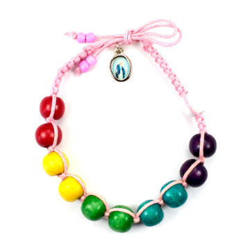 Wooden Beads Multicolored Rosary Bracelet