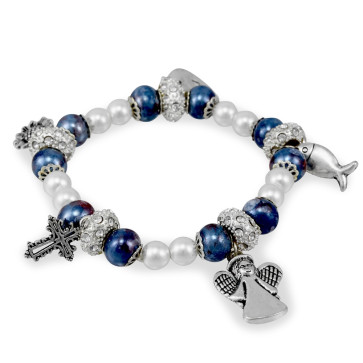 Blue Capped Mosaic Beads Rosary Bracelet