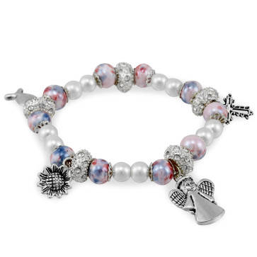 Pink Capped Mosaic Beads Rosary Bracelet