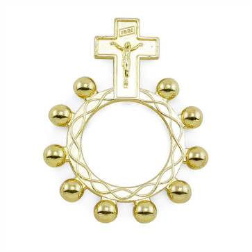 Gold Finish Ring Catholic Rosary