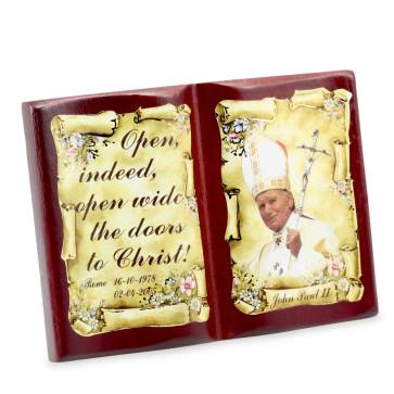 Pope John Paul II Open Book Wooden Plaque