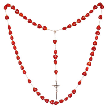 Venetian Glass Heart Beads Rosary