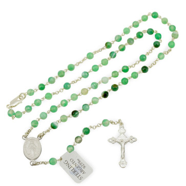 Rosary with Green Agate Beads and Sterling Silver Necklace