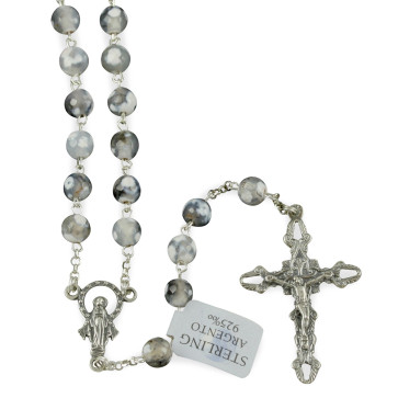 Rosary with White Agate Beads