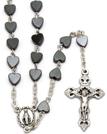 Hematite Beads Catholic Rosary