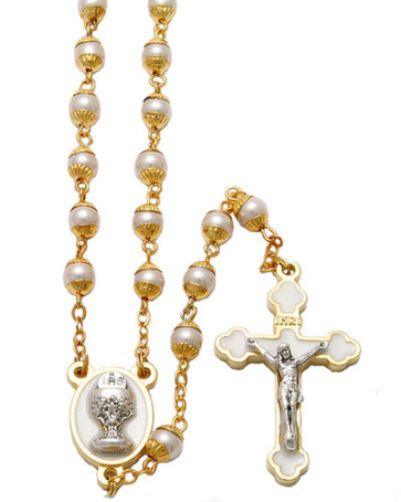 First Communion W/ Pearl Capped Beads Catholic Rosary