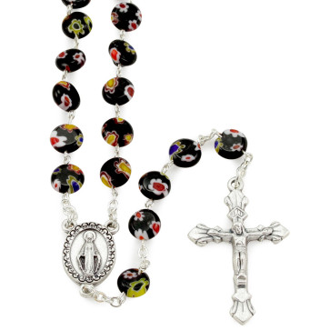 Rosary with Black Glass Beads