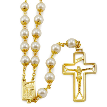 Rosary with Cream Capped Beads