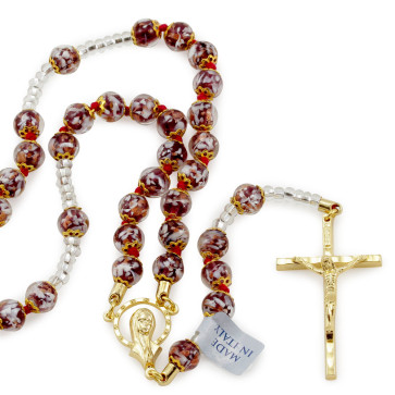 Catholic Rosary with Brown Beads