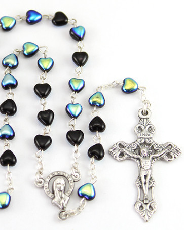 Heart Glass Beads Catholic Rosary