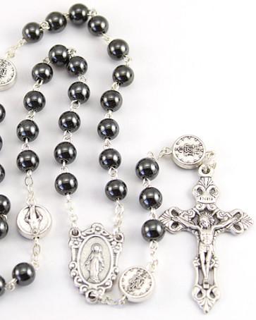 Hematite Miraculous Catholic Rosary
