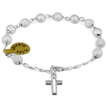 Catholic Sterling Silver Rosary Bracelet w/ Diamond Dust Beads