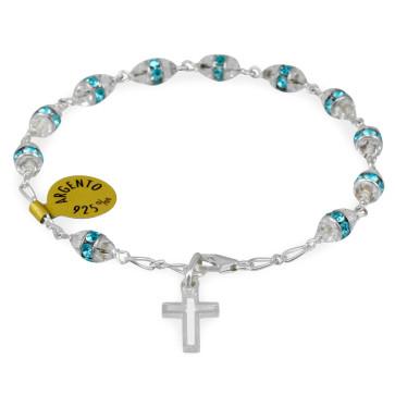 Aqua Swarovski Crystal Beads Rosary Catholic Bracelet