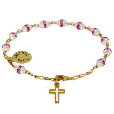 Gold Plated Rosary Bracelets w/ Pink Swarovski Crystals
