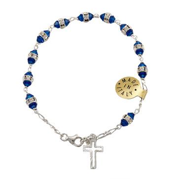 Catholic Rosary Bracelet with Blue Swarovski Crystal Beads