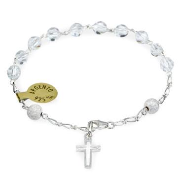 Swarovski Crystals Catholic Rosary Bracelet w/ Sterling Silver Beads