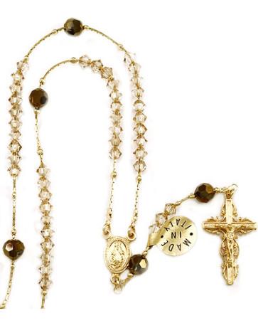 Catholic Clear Swarovski Crystal Beads Rosary