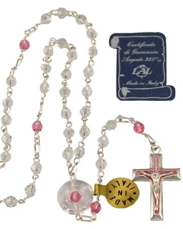 Swarovski Crystal Sterling Silver Catholic Rosary