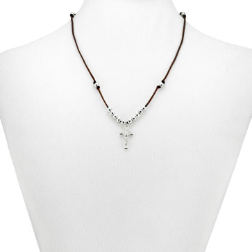 Brown String Catholic Rosary Necklace
