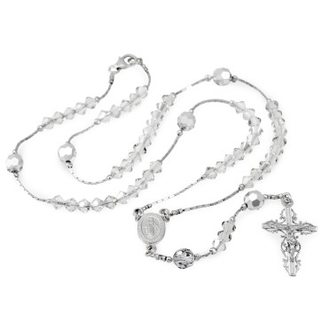 Catholic Clear Swarovski Crystal Beads Rosary