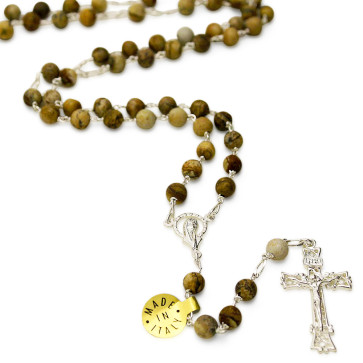 Sterling Silver Paesina Stone Rosary Beads