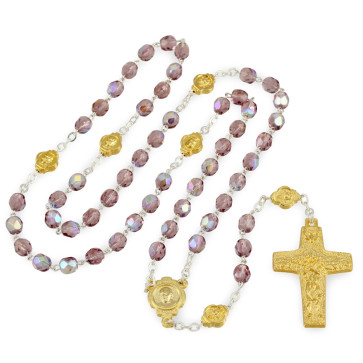 Catholic Crystal Bead Rosary Gold Vedele Cross