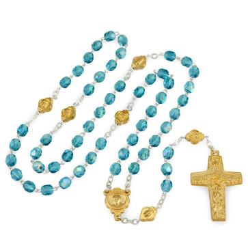 Catholic Crystal Bead Rosary Gold Vedele Cross