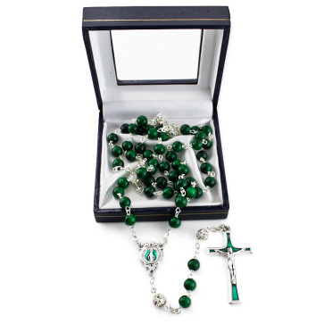 Miraculous Green Jade Stone Beads Rosary