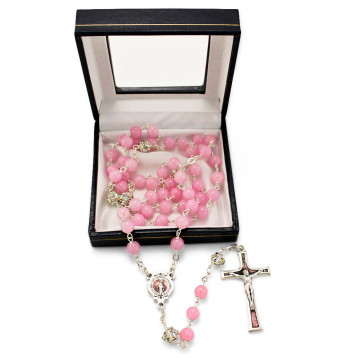 Rosary w/ Pink Jade Stone Beads