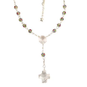 Catholic Rosary Necklace w/ Multicolored Swarovski Beads
