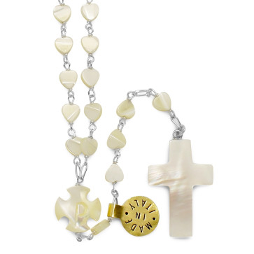 Mother of Pearl Sterling Silver Catholic Rosary
