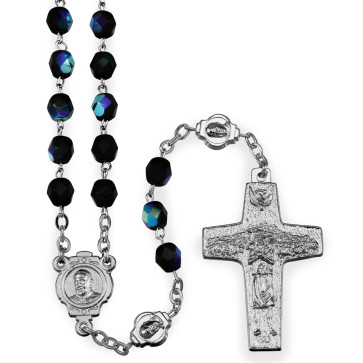 Pope Francis Rosary with black crystal beads