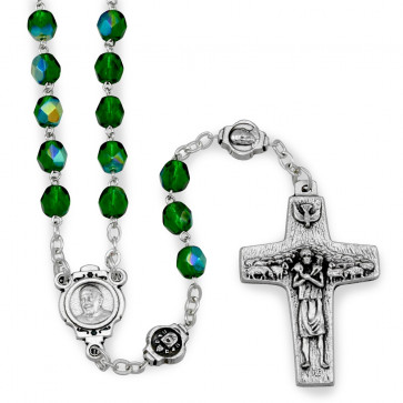 Rosary Pope Francis Green Crystal
