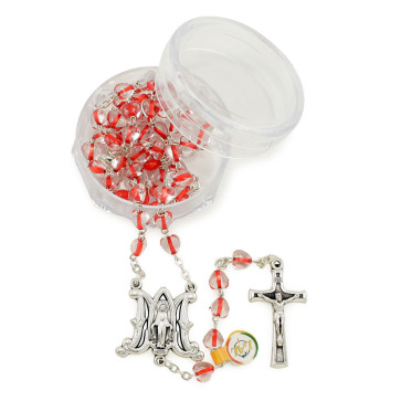 Rosary with Red Crystal Heart Beads