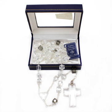 Square Smoked Swarovski Crystal Beads Catholic Rosary