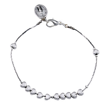 Catholic Metal White Heart Beads Rosary Bracelet